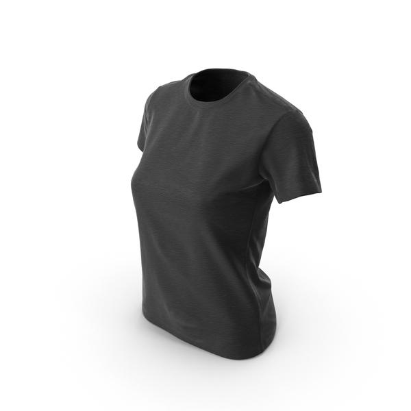 Women's T-Shirt Black PNG & PSD Images