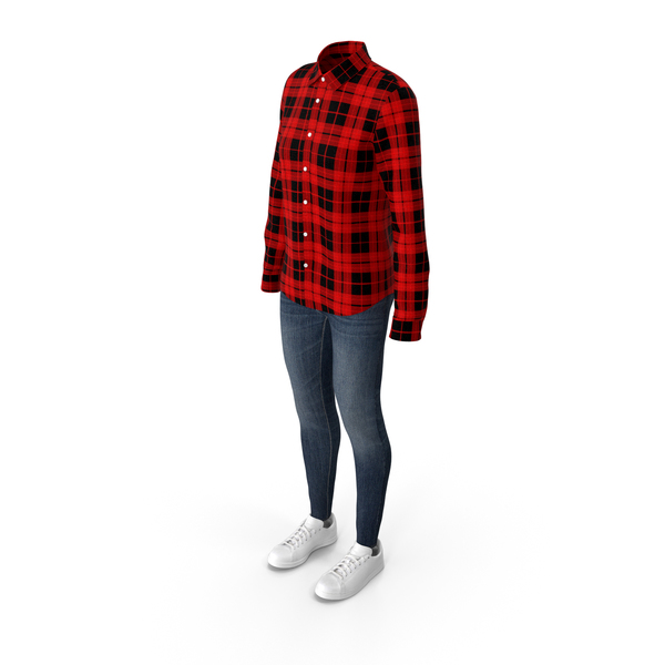 Women Shirt Jeans and Sneakers PNG & PSD Images