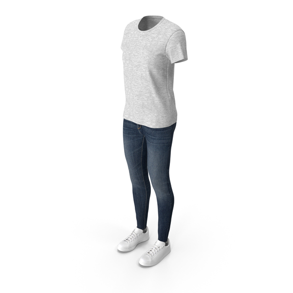 Women T-Shirt Jeans and Sneakers PNG & PSD Images