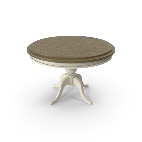 Wood and White Paint Round Table PNG & PSD Images