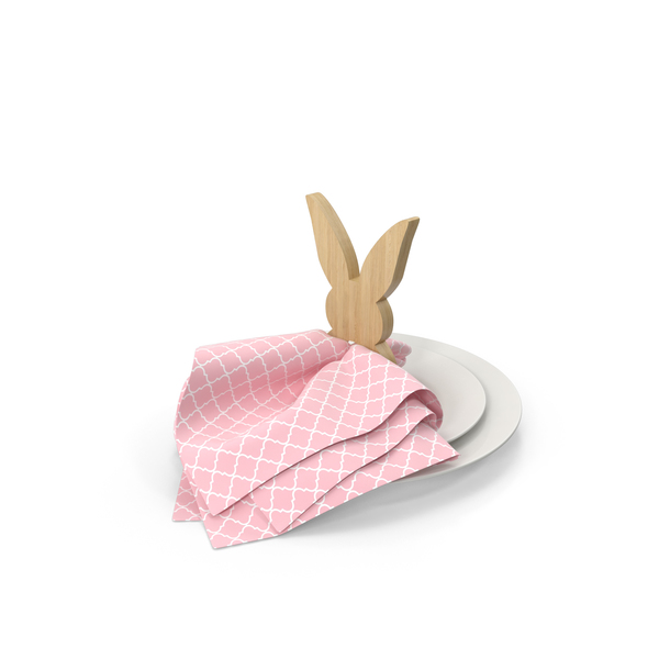 Wood Bunny Napkin Ring For Spring Tablescape PNG & PSD Images