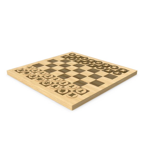 Wood Chess Board with Chess Figure PNG & PSD Images