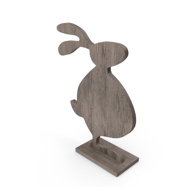 Wood Easter Rabbit Decoration PNG & PSD Images
