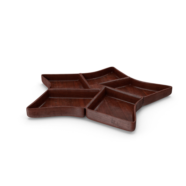 Wooden 5 Compartment Star Bowl PNG & PSD Images