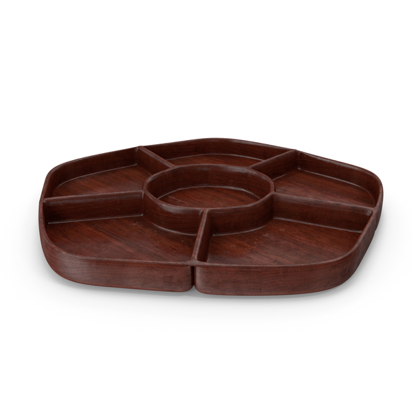 Wooden 6 Compartment Bowl PNG & PSD Images