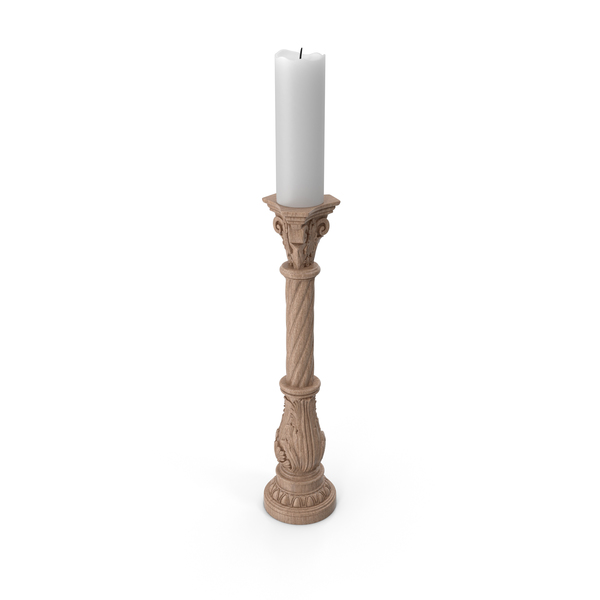 Wooden Baroque Candle Holder PNG & PSD Images