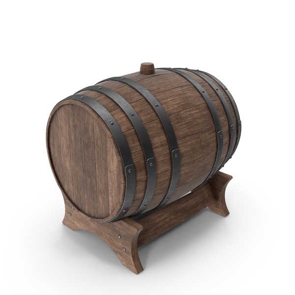 Wooden Barrel Stand Walnut PNG & PSD Images
