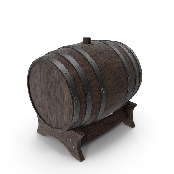 Wooden Barrel Stand Walnut Dark PNG & PSD Images
