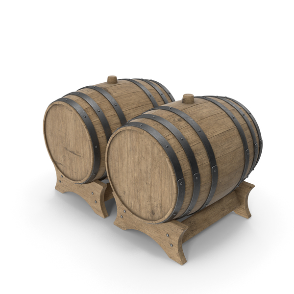 Wooden Barrels Duo Beech Veined PNG & PSD Images