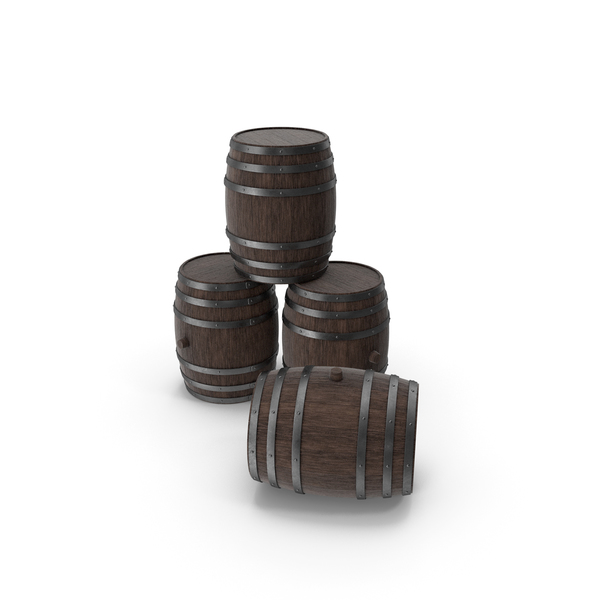 Wooden Barrels Walnut Dark PNG & PSD Images
