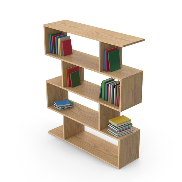Bookcase: Wooden Book Case With Books PNG & PSD Images