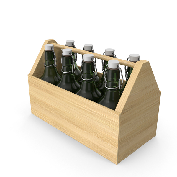 Wooden Bottle Holder with Beer PNG & PSD Images