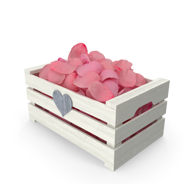 Wooden Box with Petals Pink PNG & PSD Images