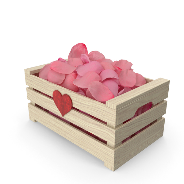 Wooden Box with Petals Pink Version PNG & PSD Images