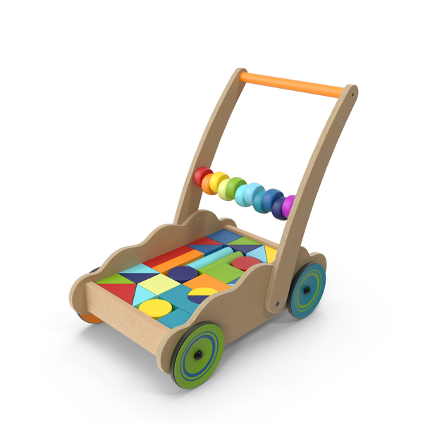 Wooden Cart of Building Blocks PNG & PSD Images