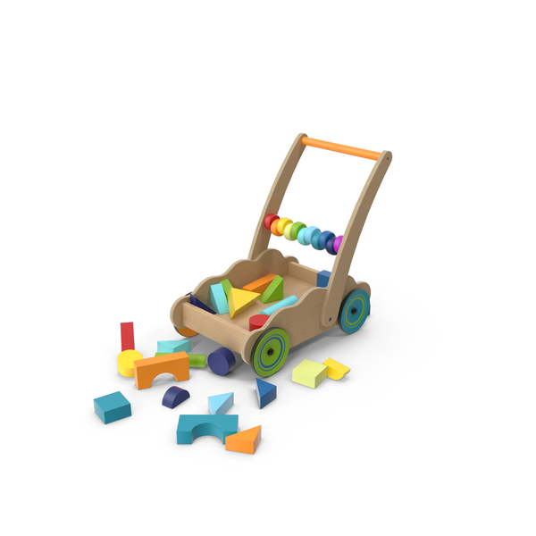 Block: Wooden Cart of Building Blocks PNG & PSD Images