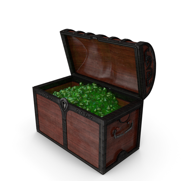 Wooden Chest With Emerald Gems PNG & PSD Images