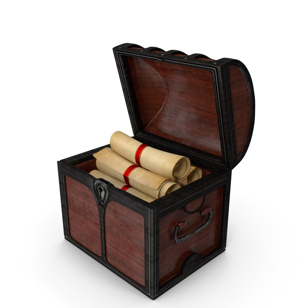 Wooden Chest with Scrolls PNG & PSD Images