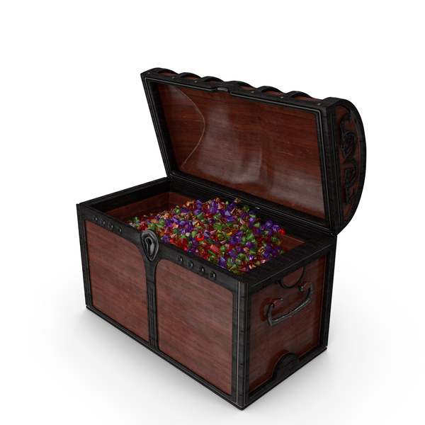 Wooden Chest With Small Mixed Gems PNG & PSD Images
