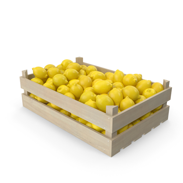 Wooden Crate with Lemons PNG & PSD Images