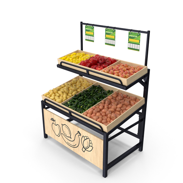 Market Stall: Wooden Display Rack With Fruits and Vegetables PNG & PSD Images