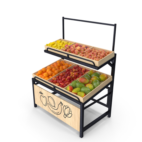 Wooden Display Rack with Fruits Without Tag PNG & PSD Images