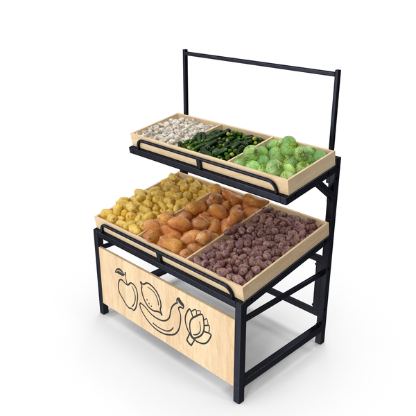 Market Stall: Wooden Display Rack With Vegetables PNG & PSD Images