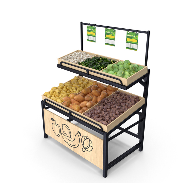 Stand: Wooden Display Rack with Vegetables PNG & PSD Images