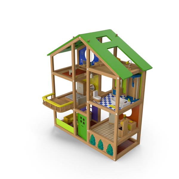 Doll House: Wooden Dollhouse Furnished PNG & PSD Images