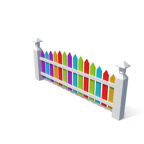 Wooden Fence Painted with Colored Paint PNG & PSD Images