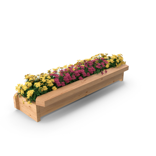 Wooden Flower Planter Box PNG & PSD Images