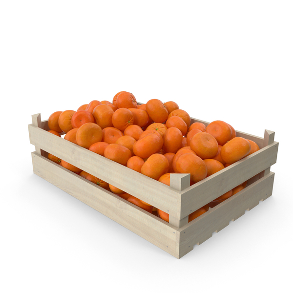 Wooden Mandarin Orange Crate PNG & PSD Images