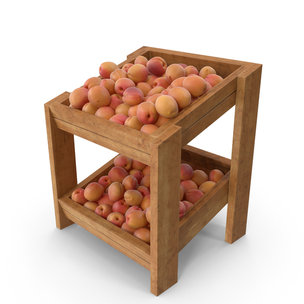 Apricot: Wooden Merchandise Shelf with Apricots PNG & PSD Images
