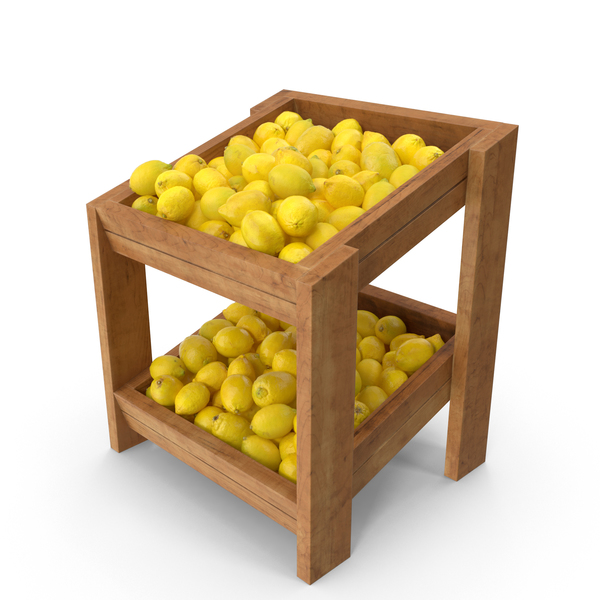 Wooden Merchandise Shelf With Lemons PNG & PSD Images