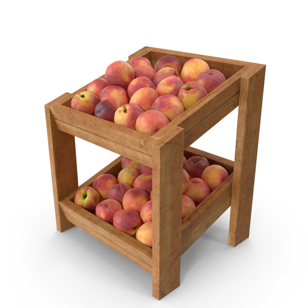 Peach: Wooden Merchandise Shelf With Peaches PNG & PSD Images