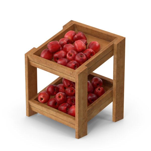 Wooden Merchandise Shelf with Red Chief Apple PNG & PSD Images