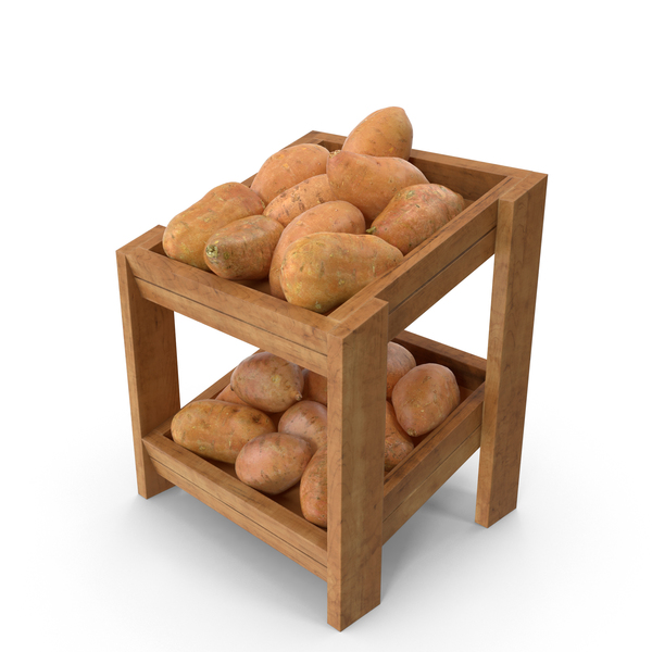 Potato: Wooden Merchandise Shelf with Sweet Potatoes PNG & PSD Images