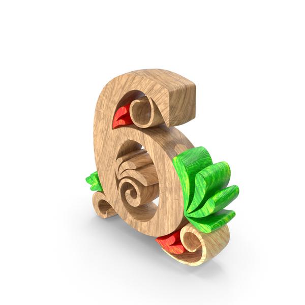 General Decor: Wooden Number 6 PNG & PSD Images