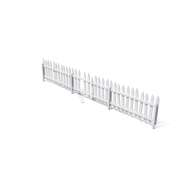 Wooden Old Fence Painted in White PNG & PSD Images