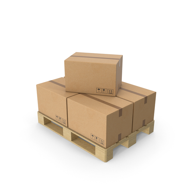 Wooden Pallet With Cardboard Box PNG & PSD Images