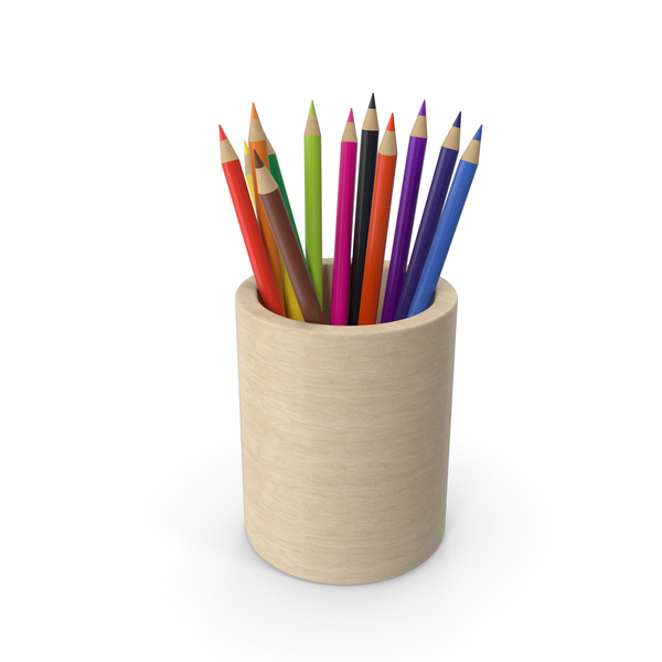 Wooden Pencil Cup With Pencils PNG & PSD Images