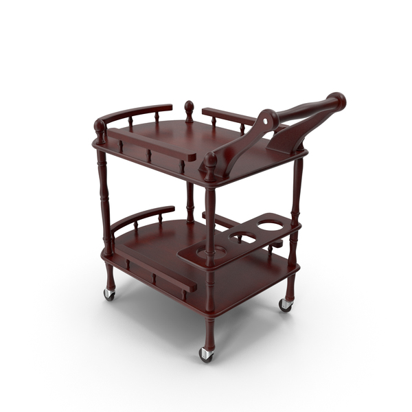 Catering Cart: Wooden Serving Trolley PNG & PSD Images
