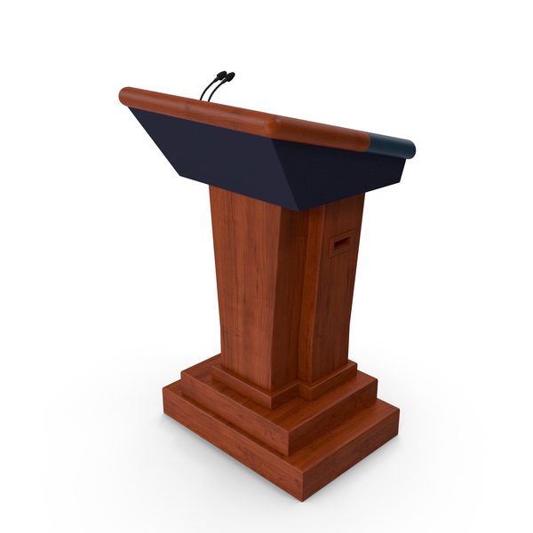 Lectern: Wooden Speech Podium with Microphones PNG & PSD Images
