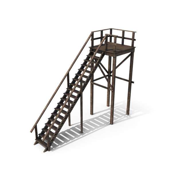 Wooden Stairs with Platform PNG & PSD Images