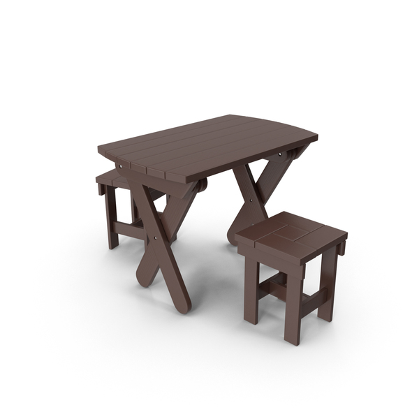 Wooden Table and  Stools PNG & PSD Images