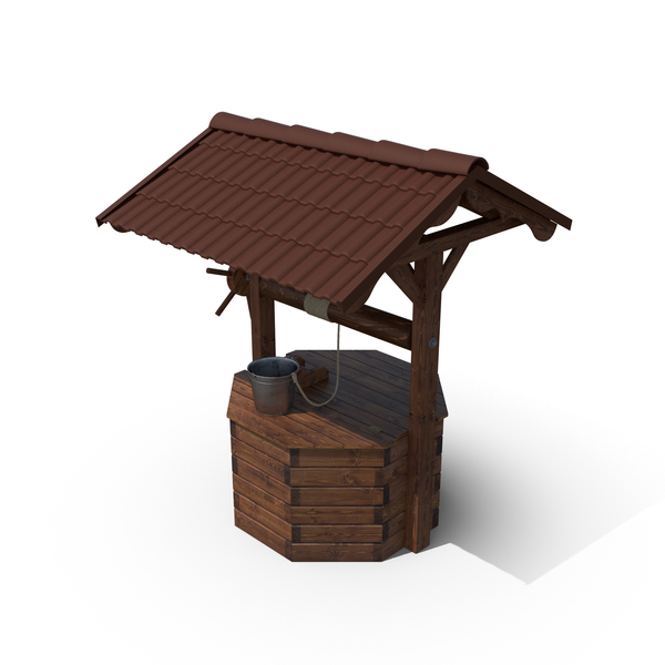 Wooden Well House & Bucket PNG & PSD Images