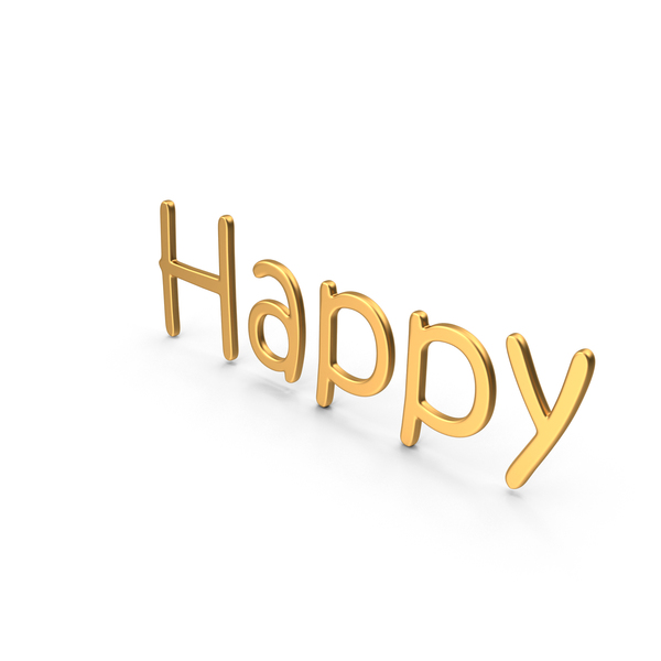 Word Happy Gold PNG & PSD Images
