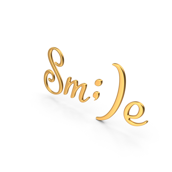 Word Smile Sign Gold PNG & PSD Images