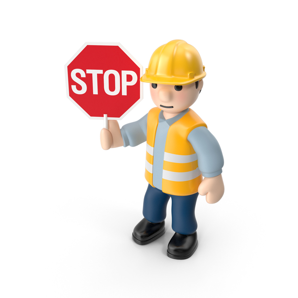 Worker with Stop Sign PNG & PSD Images