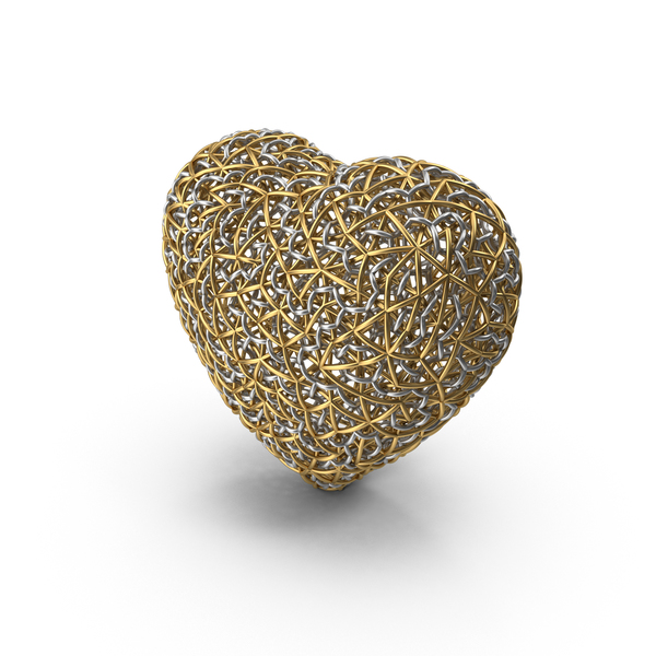 Shape: Woven Gold and Silver Heart PNG & PSD Images
